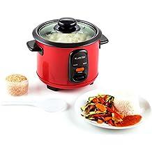 Klarstein Osaka olla arrocera (300 W, 0,6 L , antiadherente, apagado automático con función de mantenimiento en calor, tapa de vidrio, incluye cucharón y vaso medidor de arroz) - rojo