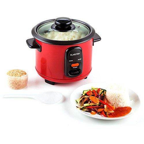 Klarstein Osaka olla arrocera (300 W, 0,6 L, antiadherente, apagado automático con función de mantenimiento en calor, tapa de vidrio, incluye cucharón y vaso medidor de arroz) - rojo