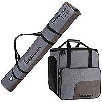 Brubaker Conjunto Carver Performance - Bolsa para Botas y Casco de ski Junto para 1 par de esquís + Bastones + Botas + Casco - Gris Negro - 170 cm
