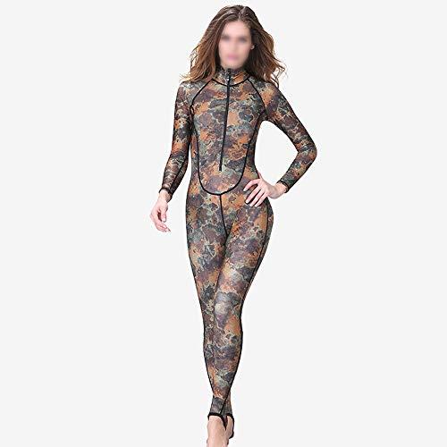 YUMUYMEY Camouflage Tauchanzug Damen Siamese Sonnencreme Neoprenanzug Reißverschluss mit Brustpolster Badeanzug Badeanzug (Farbe : Camouflage, Size : XL)