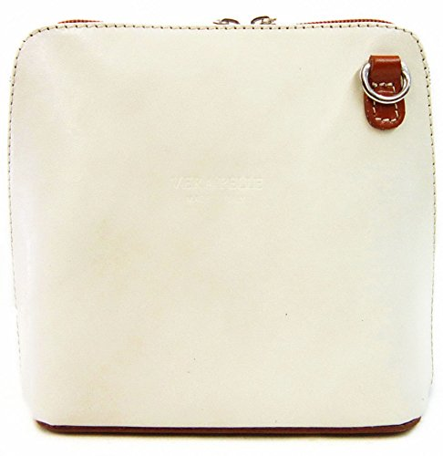 Vera Pelle Bag - Classica borsa da donna, a tracolla donna Cream with Tan contrast