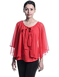 c9489efb8dec0 Timbre Party Cape Sleeve Solid Women Red Top