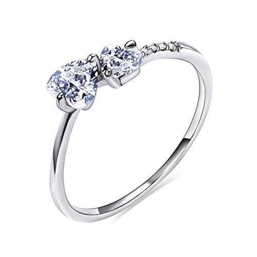 Aooaz gioielli squillare anello da donna con taglio brillante a forma di cuore con zirconi brillanti ideale per il regalo di san valentino