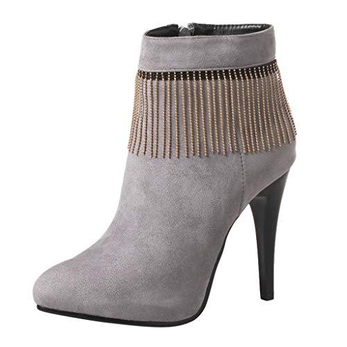 ❤Loveso❤ 2019 Damen Pumps Stiletto Stiefel Metallic Quaste Comfortable Boots High Heels Kurzschaft Stiefelette mit Plateau -