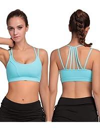 Exerin - Sujetador Deportivo para Mujer Sin Aros Plasticidad Correas Delgadas para Yoga Correr Deporte