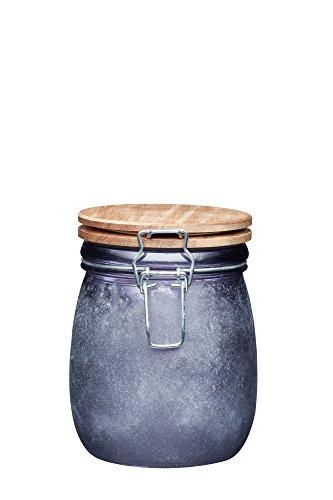 Kitchencraft industriel de cuisine Petit bocal de récipient en verre avec couvercle hermétique en bois, 700 ml (1,25 Pts) – Finition béton, gris, 12.5 x 11 x 13.5 cm