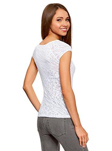 Das Modell fällt kleiner aus oodji Collection Damen T-Shirt mit Ausbrennerdesign  Weiß (1000A) ...