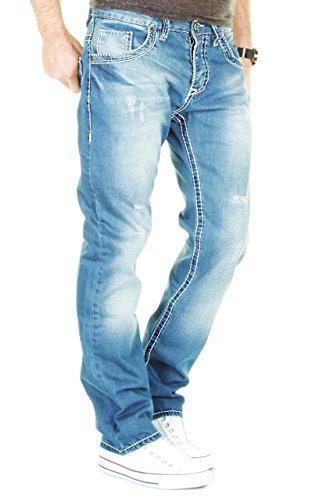 MERISH Herren Jeanshose Blue Denim Bleached Dicke Naht Destroyed Trend Usedlook Jeans Hose Neu 9156 Blau