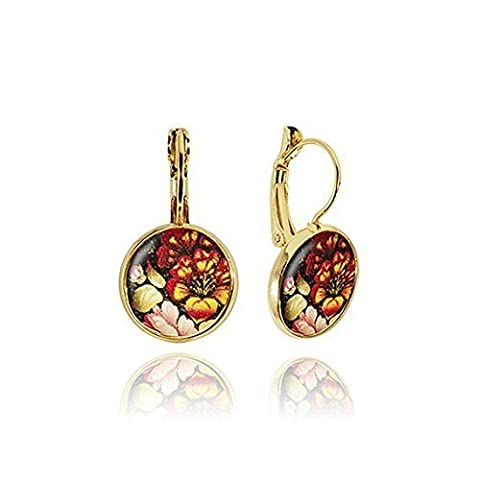Colourful gold drop earrings in gift box by Dragon Porter