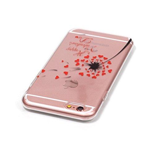 Pheant®[4 in 1] Apple iPhone 6 Plus/6S Plus (Pas pour Apple iPhone 6/6S) Coque Gel en Souple Silicone Transparent Cas avec Verre Trempé Protecteur d'écran Stylet Bouchon Anti-poussière(éléphant) Pissenlit