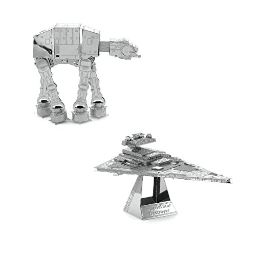 Metal Earth Fascinations Star Wars AT-AT und Imperial Star Destroyer Shuttle 3d Metall Puzzle, Konstruktionsspielzeug, Lasergeschnittenes Modell