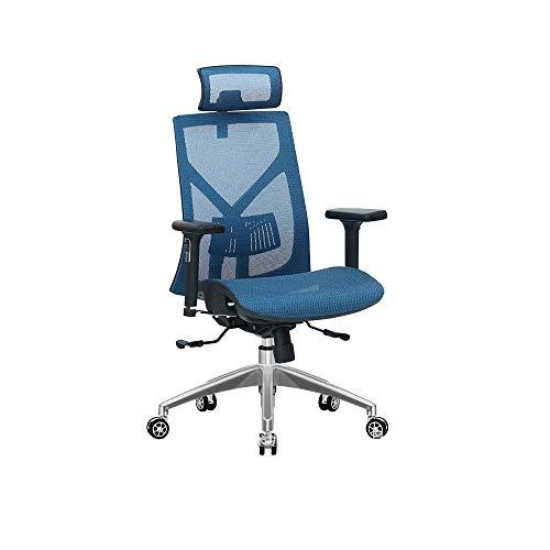 WJJP Ergonomischer Bürostuhl,Schreibtischstuhl mit hoher Rückenlehne Heben Drehstuhl Liegestuhl Computerstuhl,mit Lordosenstütze,Einstellbare Sitzkissen Kopfstütze,Atmungsaktiver Netzrücken,3D Armlehn