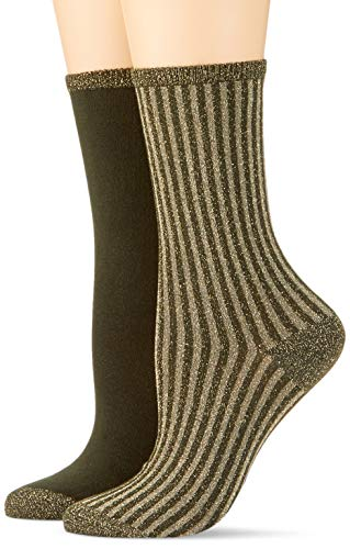 Tommy Hilfiger Damen Socken TH Women Vertical Lurex 2P, 2er Pack, Grün (Medium Green 357), 39/42