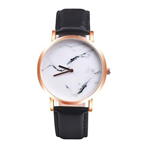 Yogogo Damen Marmoroberfläche Quartz Analog Armbanduhr , 1 Cent Artikel | Lederband | Dekoration | Geschenk | Alugehäuse | Quarzwerk | 38mm Durchmesser | 20mm Bandbreite | 230mm Länge (Schwarz)
