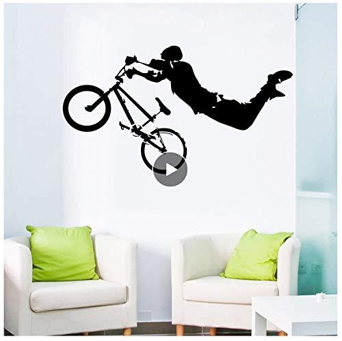 jqpwan Junge Riesen BMX Wand Vinyl Kunst Wandtattoo dekoration wandaufkleber bett raumdekor 108 * 57 cm
