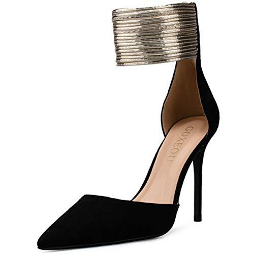XWQYY Frühlings- und Sommer-Wildleder-Ring mit Riemen und Spitzen Stiletto Heels Zipper Fashion Sandals,Black-41EU Black Satin Bow Sandals