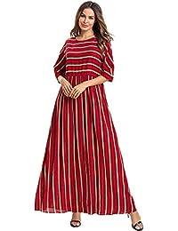 Acqrobe Femmes Caftan Musulman Robes - Élégant Manches Cinq Points Robe  Maxi Abaya Robe Ample a99bf61f012