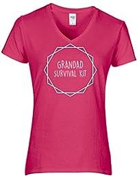 Hippowarehouse Grandad Survival Kit Womens V-Neck Short Sleeve t-Shirt (Specific Size Guide In Description)