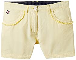 US Polo Association Girls Shorts (UTST5026_Lt. Yellow_11 - 12 years)
