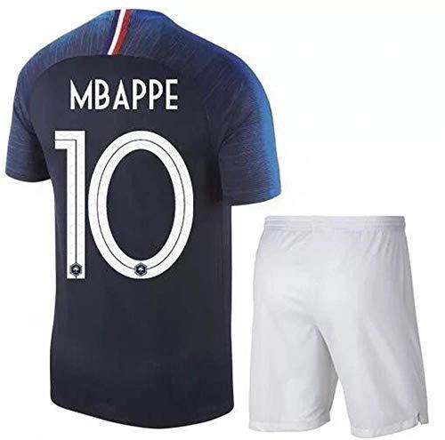 Kostüm National Kinder Frankreich - HANGESS Eistuch Der Französischen Fußballmannschaft Kylian Mbappe Nr. 10 T-Shirt-Fußballbekleidung - Zwei-Sterne-Kinderanzug Der Weltmeisterschaft, Trikot-Fußballuniform