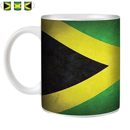 STUFF4 Tee/Kaffee Becher 350ml/Jamaika/Jamaikanische/Weinlese-Flaggen/Weißkeramik/ST10