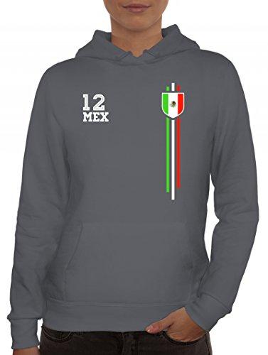 ShirtStreet Mexico Soccer World Cup Fussball WM Fanfest Gruppen Damen Hoodie Frauen Kapuzenpullover Streifen Trikot Mexiko, Größe: XXL,Grau