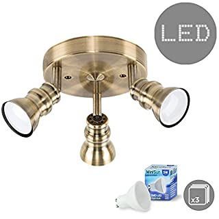 Contemporary Brushed Antique Brassed Effect 3 Way Round Adjustable Ceiling Spotlight - With 3 x 5W Warm White GU10 LED Bulbs