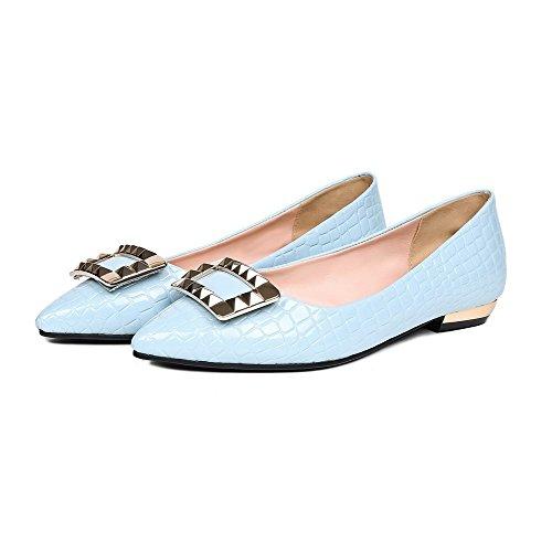 VogueZone009 Femme Mosaïque Verni à Talon Bas Tire Pointu Chaussures Légeres Bleu