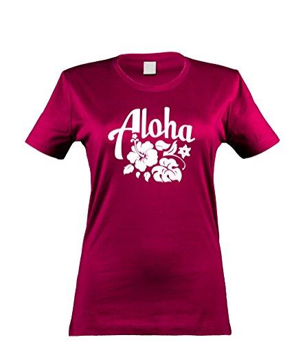 Hawaii Hochzeit Shirts (klamottenkiste24 Damen T-Shirt Aloha Hawaii, sorbet, Gr. XL)