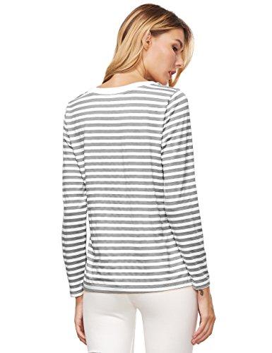 ROMWE Damen Ringel Langarmshirt Baumwoll Streifen Gestreift Hundhals Shirt Top Grau