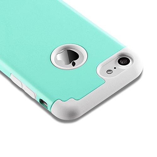 Coque iphone 8 & iPhone 7,coque 2 en 1 Bumper [Dual Layer] en PC et TPU silicone [Hybrid Defender] Etuis Housse Extreme Protection pour iphone 8 & iPhone 7 (4.7 Inch)(Blanc+Gris) vert menthe gris