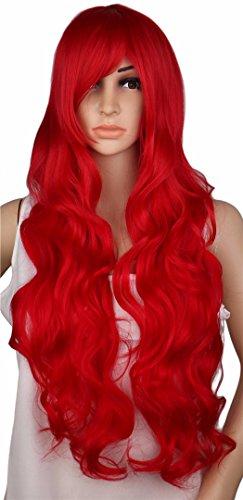 Lange Curly Cosplay Perücke Kostüm Party Rot Rosa Sliver Grau Blond Schwarz 70 cm hohe Temperatur synthetisches Haar Perücken