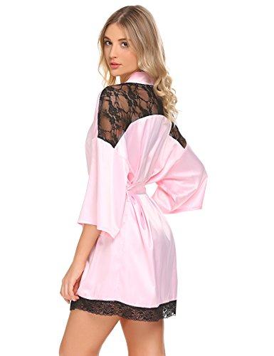 Meaneor_Fashion_Origin Damen Sexy Satin Kimono Morgenmantel Bademäntel V Ausschnitt mit Gürtel und Spitze Hellrosa
