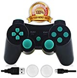 CFORWARD PS3 Controller, Wireless Bluetooth Gamepad Double Vibration Six-Axis Remote Joystick for Playstation 3 with Charging Cord (Lago Blu)