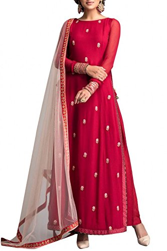 Monika Silk Mill Women\'s Red Gorgette Embroidered Semi stitched Anarkali Suit with Dupatta