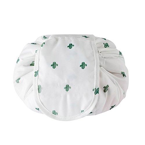 PU Ran Voyage Portable étanche femme Maquillage Cosmétique Sac pochette de rangement organiseur vert cactus