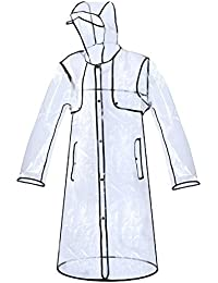 Zicac Imperméable Transparent PVC Manteau De Pluie Trench Femme Fille Fashion