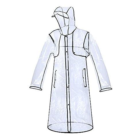 Zicac Imperméable Transparent PVC Manteau De Pluie Trench Femme Fille Fashion (Noir, M)