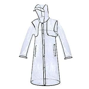 Zizac Imperméable Transparent PVC Manteau De Pluie Trench Femme Fille Fashion (Noir)