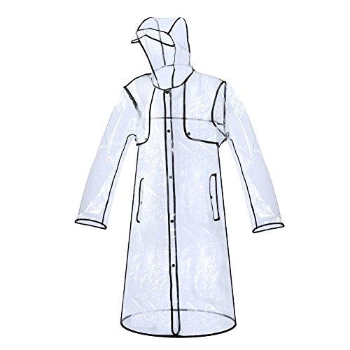 Zicac Fashion City Frauen Transparente klar Regenmantel Raincoat Wasserdichte Regenbekleidung (Schwarz-Lang)