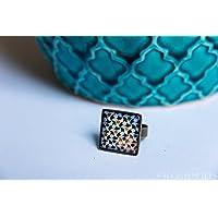Anello Alhambra - Gioielli mosaico del palazzo del Granada - Fiori multicolori su fondo bianco - Fotografie in resina ecologica- regalo donna - 18 mm