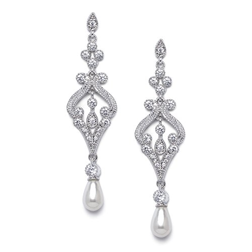 SWEETV Drop Earrings for Women Cubic Zirconia Pierced Bridal Dangle Earrings with Pearl-Ideal Gifts for Wedding or Anniversary
