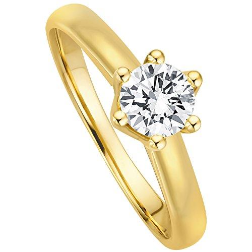 Juwelier Gelber Diamant Ring Filigrane Fassung 0.40ct Brillant Schliff Lupenrein 585 14 Kt Gold (50...