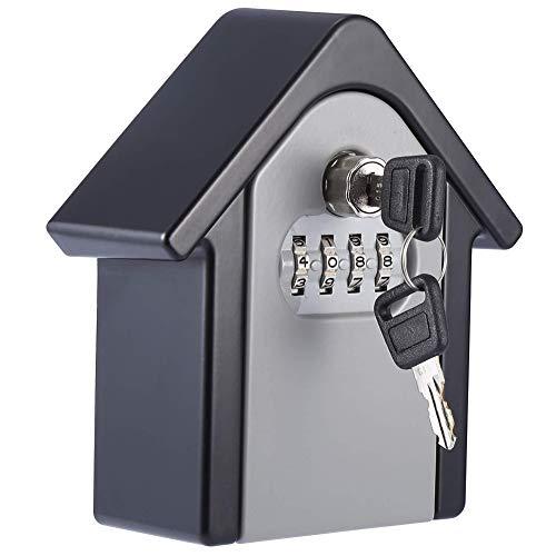 Xiton 1PC Key Storage Security Lock Wand befestigte Außenschloss Box mit Notentriegelung Password Recovery Design for Home Office Garage Grau -