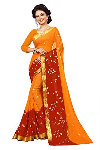 Amyaa Fashion Chiffon Saree (Yellow & Red, Free Size)