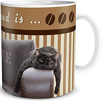 Tasse Katze bricht Becher Kaffee Cat Kaffeetasse Katzen Motiv Geschenk lustig