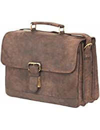 Leaderachi-100% Genuine Hunter Leather Crossbody Messenger Laptop Briefcase Bag [SIENA]
