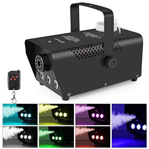 MVPOWER Mini Nebelmaschinen 500W, Nebel maschinen mit Drahtloser Fernbedienung und Bunter Licht, Smoke Maschine für Feiertage, Hochzeiten,Theater Party und Club DJ Effekt, 350ML