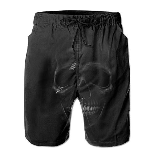 Men Swim Trunks Dark Skull Beach Wear Swim Casual Running Shorts Quick Dry Swim Briefs for Summer,Size:M - Hi Leg Brief