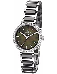 Accurist Black Dial Stainless Steel Bracelet with Black Ceramic Inlay Ladies Watch 8098